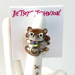 Betsey J 'Mini Critters' Squirrel Stack Rings NWT!